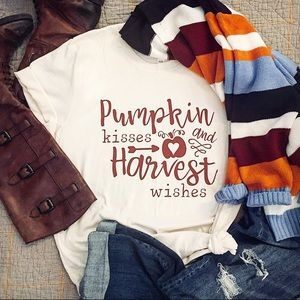 """""""Pumpkin Kisses and Harvest Wishes"""" Graphic Tee"""